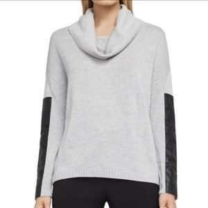 Bcbgmaxazria grey cowl neck sweater w/faux leather